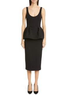 CUSHNIE Peplum Pencil Tank Dress