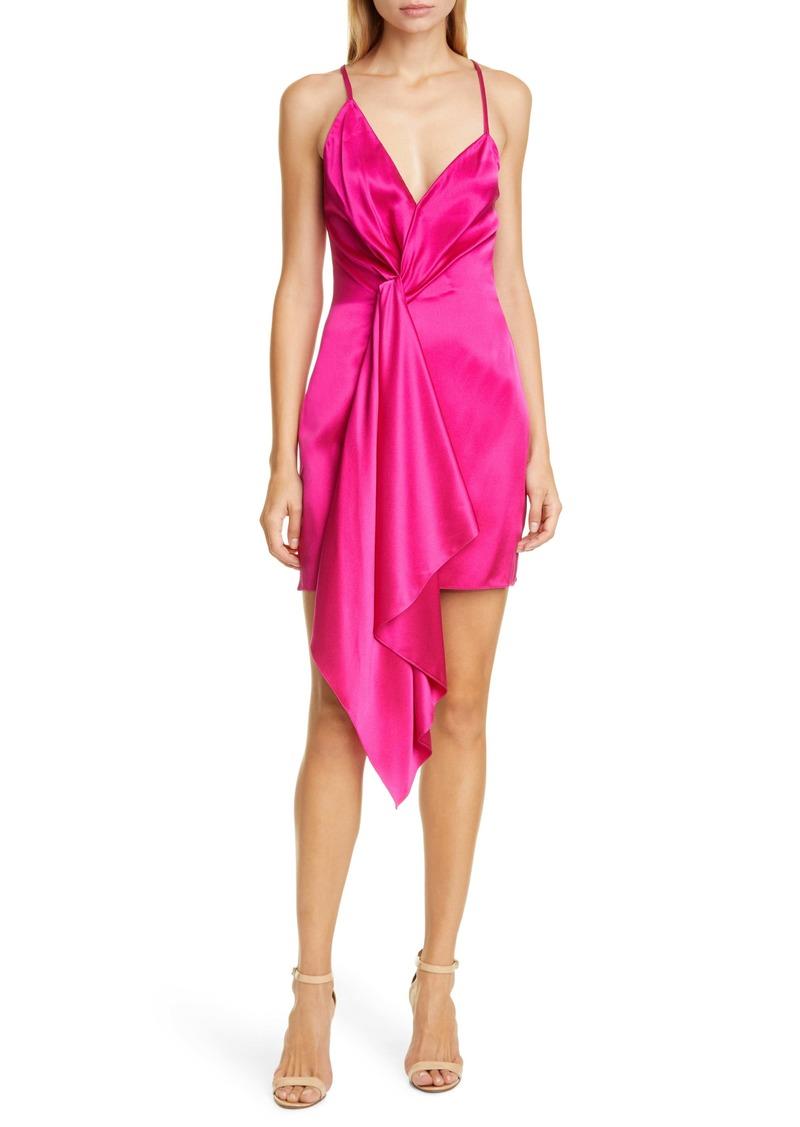 CUSHNIE Plunge Neck Silk Minidress