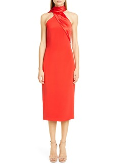 CUSHNIE Satin Halter Midi Pencil Dress