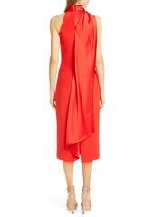 CUSHNIE Satin Halter Midi Pencil Dress