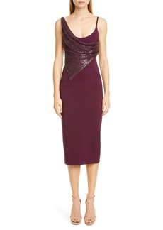 CUSHNIE Sequin Panel Midi Dress