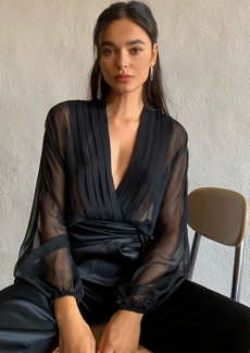 Cushnie Sheer Blouson Long Sleeved Thong Bodysuit