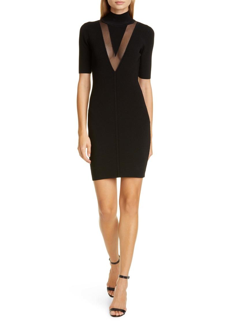 CUSHNIE Sheer Panel Body Con Dress