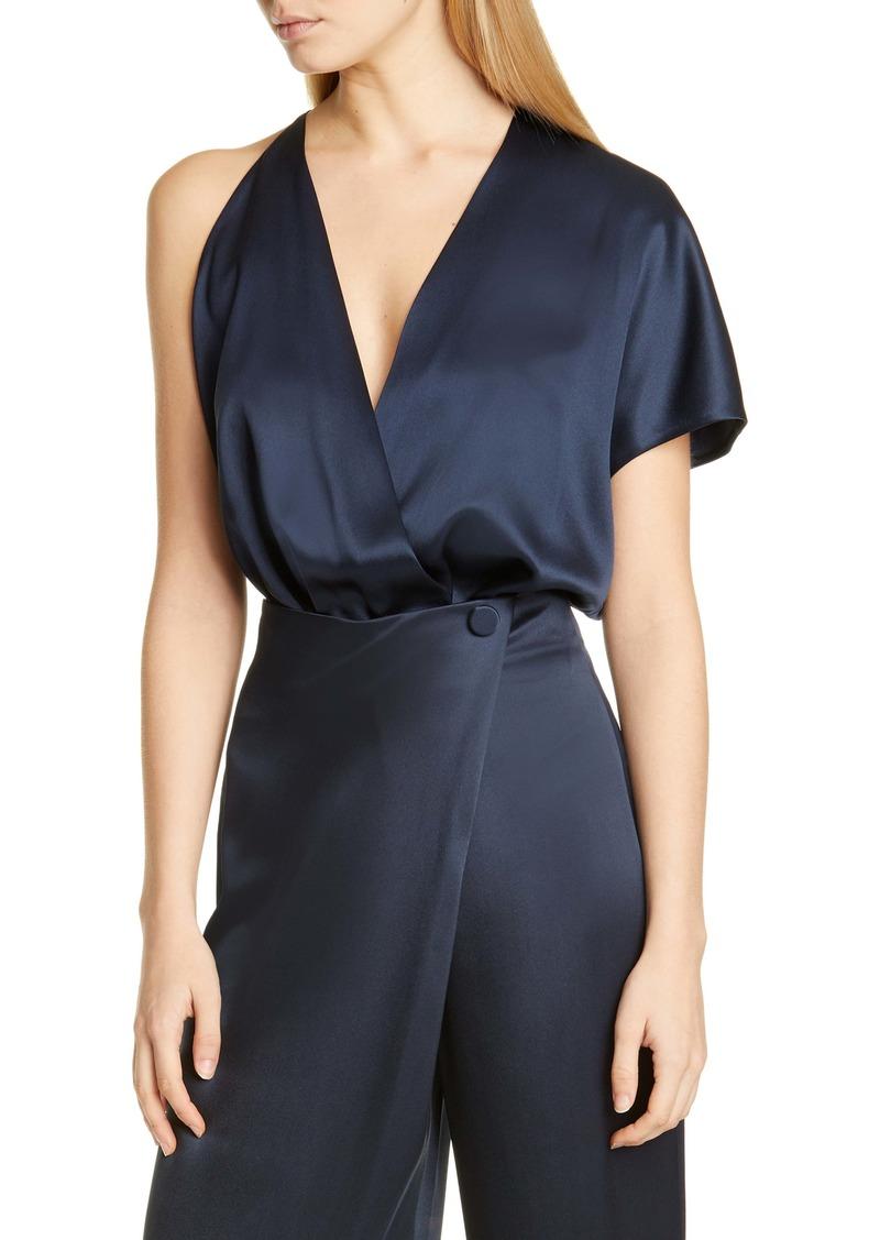 CUSHNIE Single Sleeve Silk Satin Bodysuit