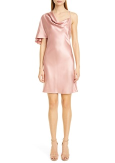 CUSHNIE Single Sleeve Silk Satin Minidress