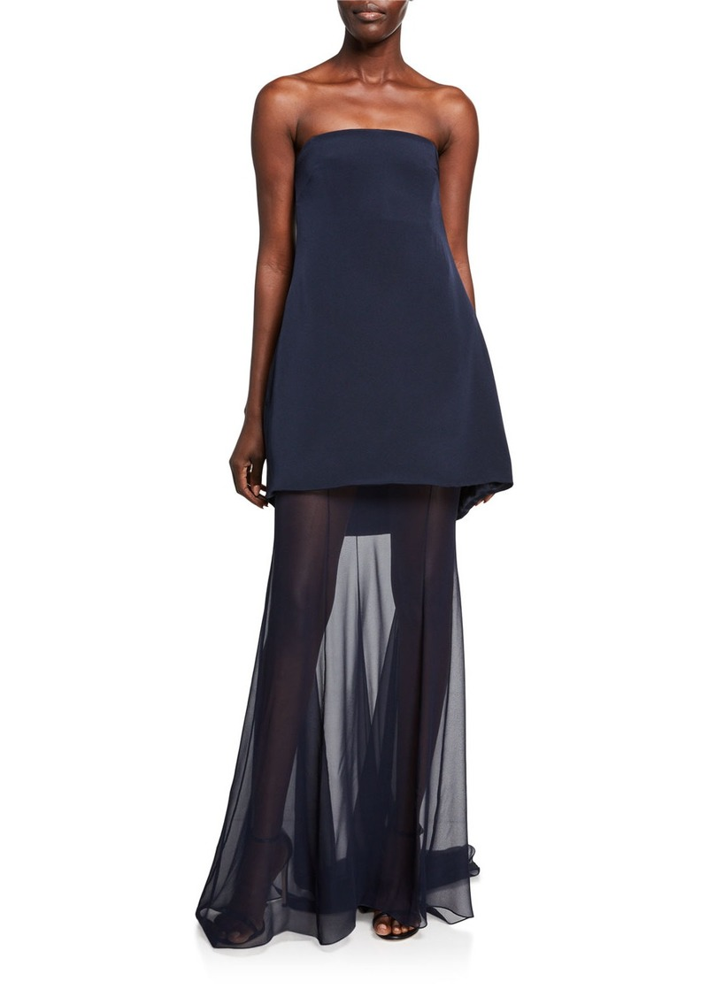 CUSHNIE Strapless Square-Neck Tiered Gown