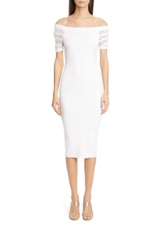 CUSHNIE Stripe Sleeve Off the Shoulder Body-Con Sweater Dress
