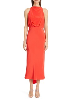 CUSHNIE Tie Back Silk Midi Sheath Dress