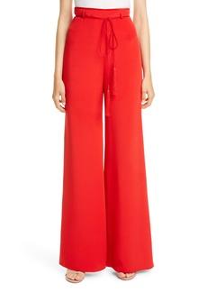 CUSHNIE Tie Belt High Waist Wide Leg Silk Pants