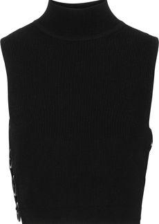 Cushnie Woman Aria Cropped Ring-embellished Ribbed-knit Turtleneck Top Black