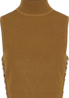 Cushnie Woman Aria Cropped Ring-embellished Ribbed-knit Turtleneck Top Camel
