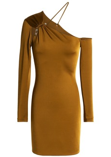Cushnie Woman Asymmetric Embellished Satin-jersey Mini Dress Copper