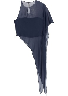 Cushnie Woman Asymmetric Layered Silk-chiffon And Cady Top Navy