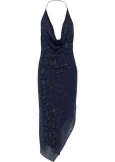 Cushnie Woman Asymmetric Metallic Fil Coupé Chiffon Halterneck Dress Navy