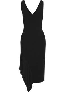 Cushnie Woman Asymmetric Open Knit-paneled Ribbed-knit Dress Black