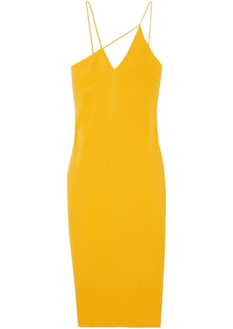 Cushnie Woman Asymmetric Stretch-crepe Midi Dress Saffron