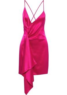 Cushnie Woman Azalea Draped Silk-charmeuse Mini Dress Bright Pink