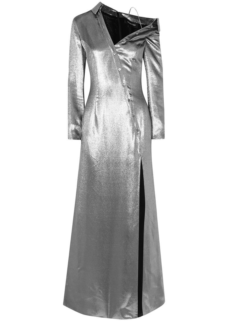 Cushnie Woman Cold-shoulder Button-detailed Silk-blend Lamé Gown Silver