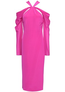 Cushnie Woman Cold-shoulder Chiffon-paneled Silk Crepe De Chine Midi Dress Bright Pink