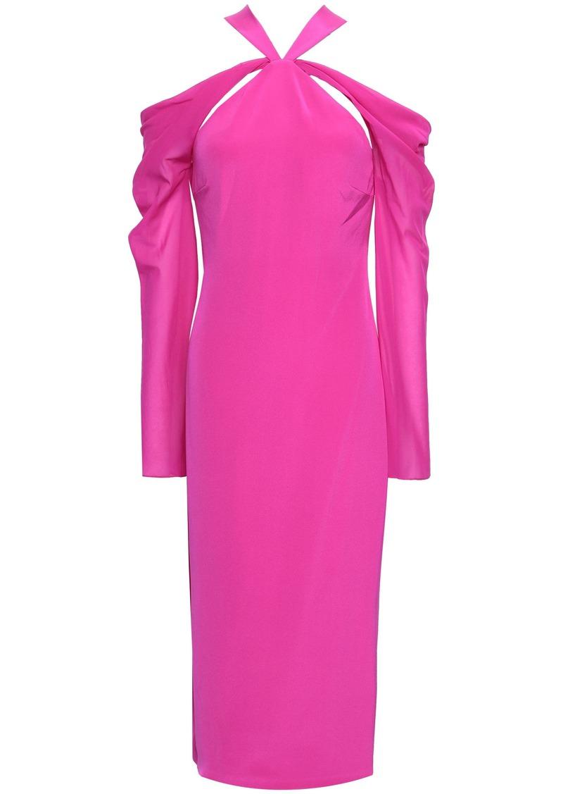 Cushnie Woman Cold-shoulder Chiffon-paneled Silk Crepe De Chine Midi Dress Bright Pink
