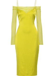 Cushnie Woman Cold-shoulder Lace-paneled Satin Midi Slip Dress Chartreuse