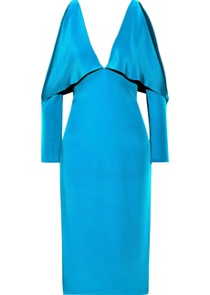 Cushnie Woman Cold-shoulder Layered Silk Dress Turquoise