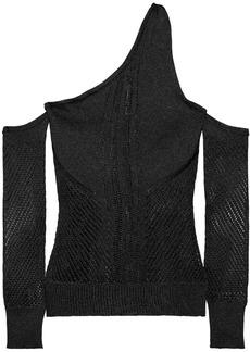 Cushnie Woman One-shoulder Open-knit Top Black