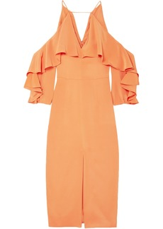 Cushnie Woman Cold-shoulder Ruffled Silk Crepe De Chine Midi Dress Pastel Orange