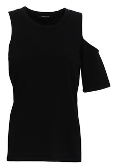 Cushnie Woman Cold-shoulder Stretch-knit Top Black