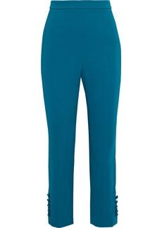 Cushnie Woman Cropped Button-detailed Crepe Slim-leg Pants Teal