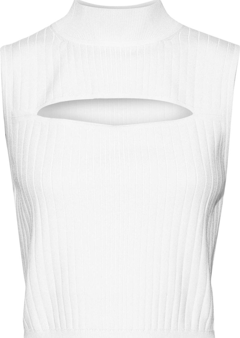 Cushnie Woman Cropped Cutout Ribbed-knit Turtleneck Top White