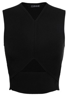 Cushnie Woman Cropped Cutout Stretch Ribbed-knit Top Black