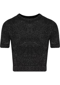 Cushnie Woman Cropped Metallic Stretch-knit Top Black
