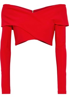 Cushnie Woman Cropped Off-the-shoulder Ponte Top Red