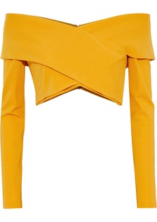Cushnie Woman Cropped Off-the-shoulder Ponte Top Saffron
