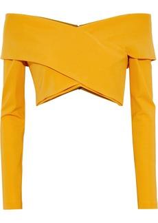 Cushnie Woman Cropped Off-the-shoulder Ponte Top Saffron