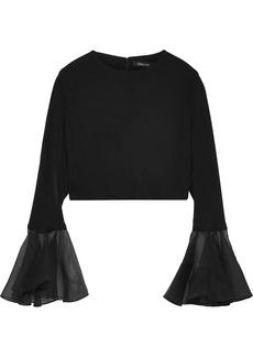 Cushnie Woman Cropped Organza-trimmed Stretch-cady Top Black