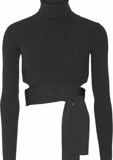Cushnie Woman Cropped Ribbed Stretch-knit Top Black