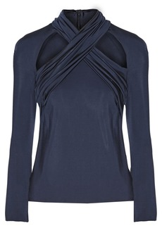 Cushnie Woman Cutout Crossover-front Stretch Satin-jersey Top Midnight Blue