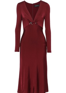 Cushnie Woman Cutout Embellished Satin-jersey Midi Dress Burgundy