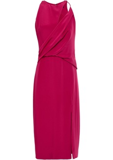 Cushnie Woman Cutout Draped Silk-crepe Dress Magenta