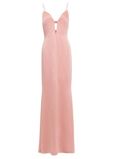 Cushnie Woman Cutout Hammered Satin-crepe Gown Blush