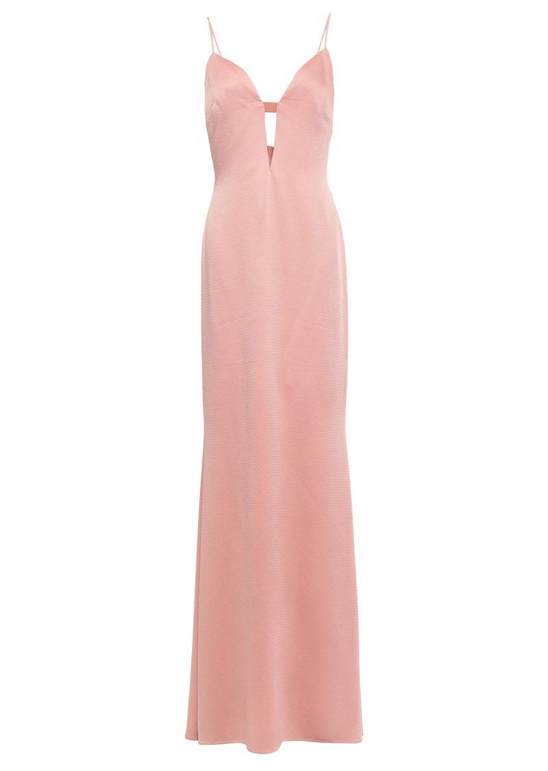 Cushnie Woman Cutout Hammered Satin-crepe Gown Blush