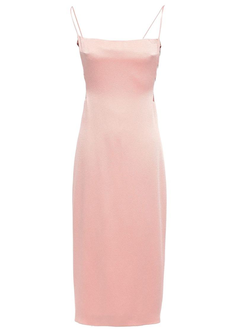 Cushnie Woman Cutout Hammered Stretch-silk Satin Midi Dress Blush