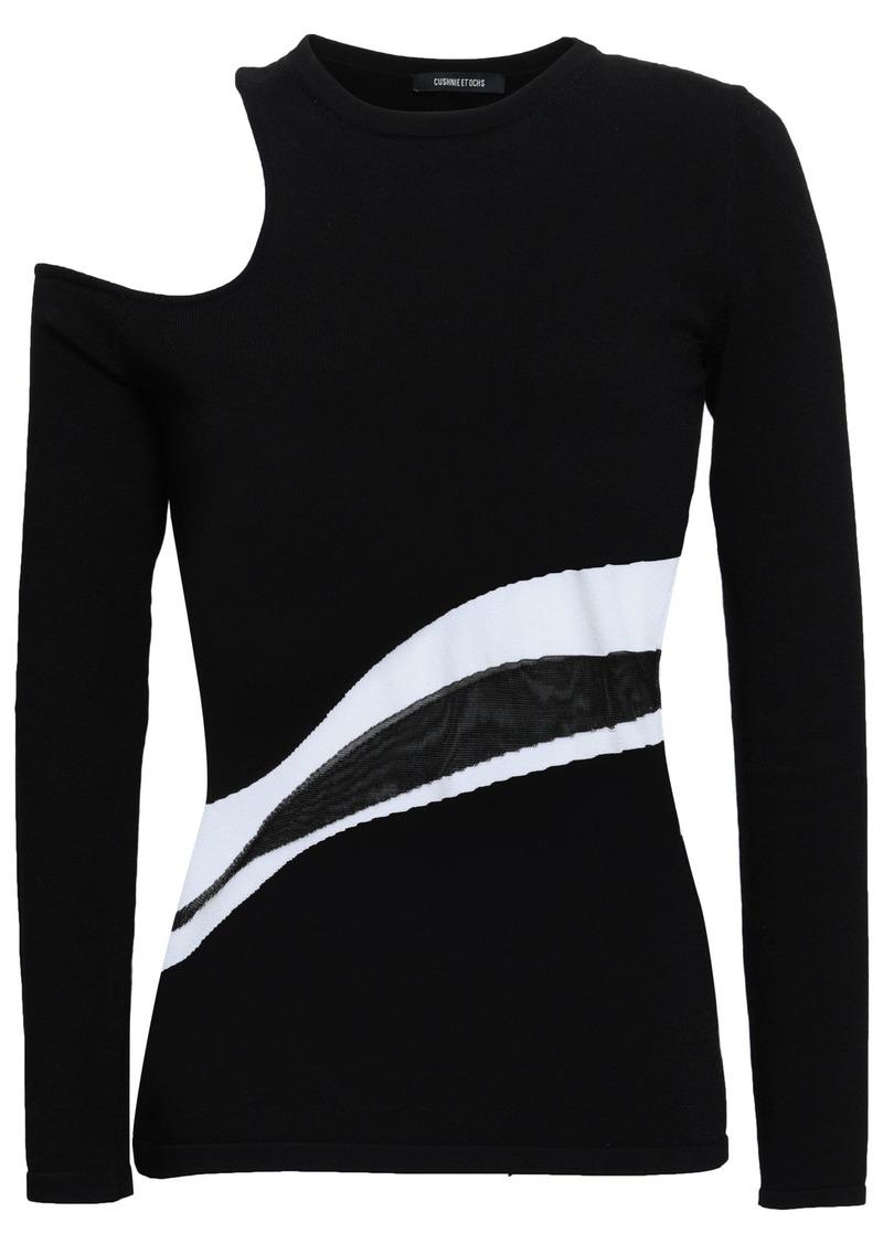 Cushnie Woman Cutout Intarsia-knit Top Black