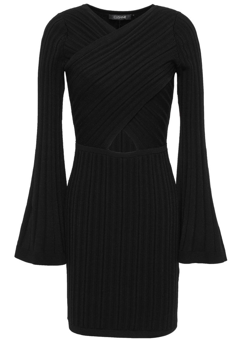 Cushnie Woman Cutout Ribbed-knit Mini Dress Black