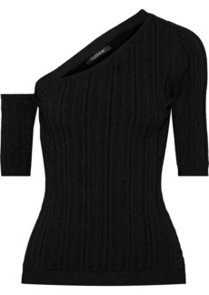 Cushnie Woman Cutout Ribbed-knit Top Black
