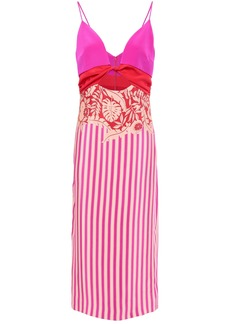 Cushnie Woman Cutout Twisted Printed Silk-crepe Midi Dress Bright Pink