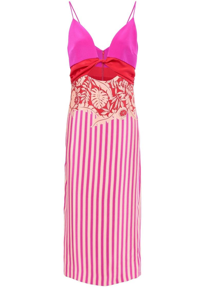 Cushnie Woman Cutout Twisted Printed Silk-crepe Midi Dress Bright Pink