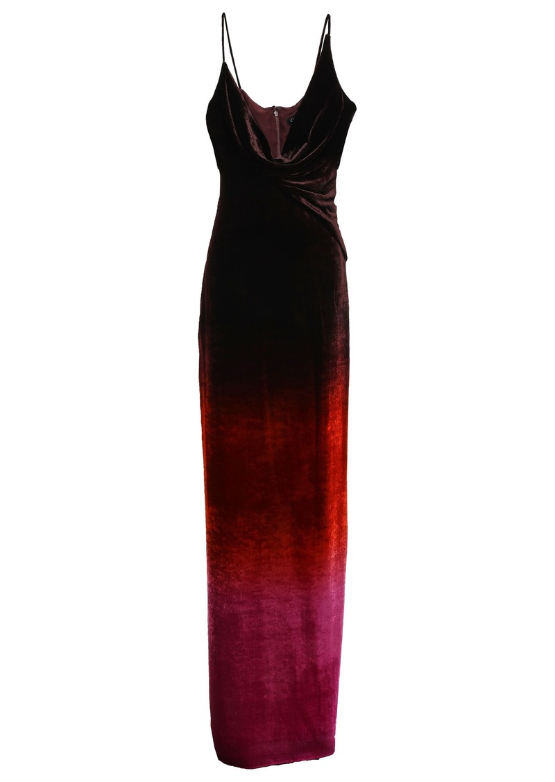 Cushnie Woman Draped Dégradé Velvet Gown Black